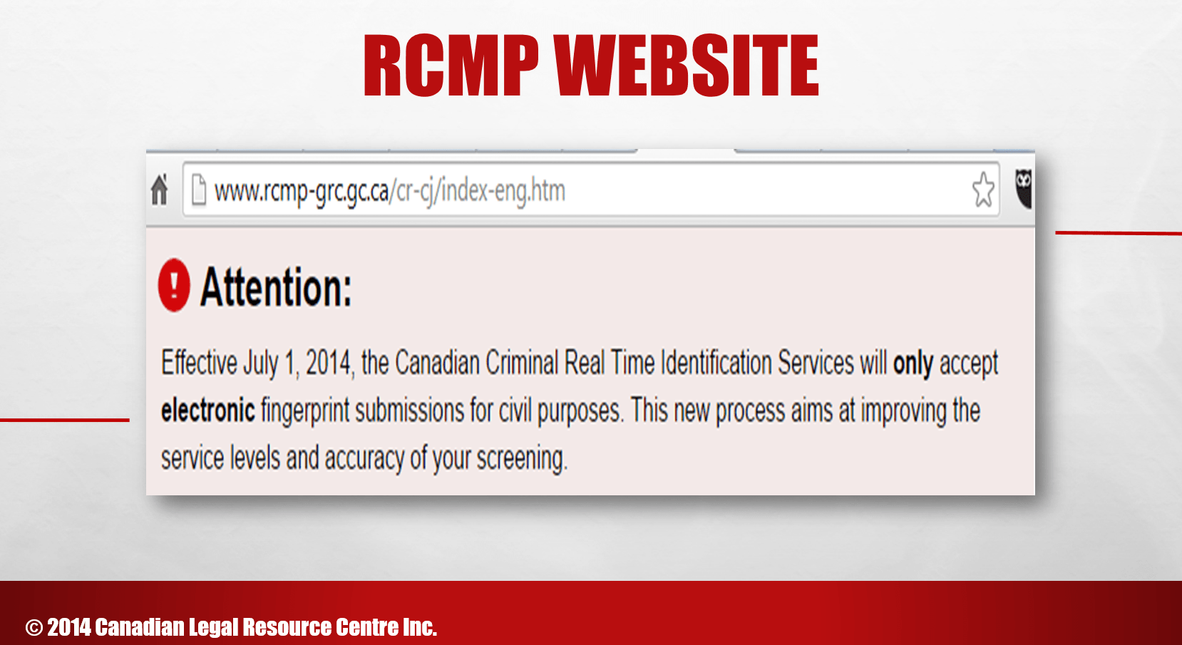 RCMP Electronic Fingerprint Only Notice