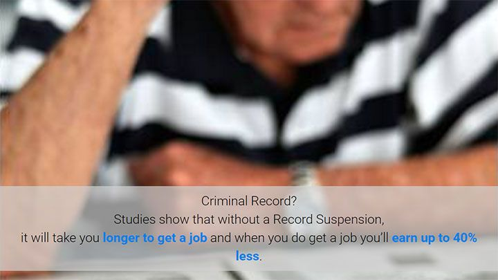 Studies show that without a Record Suspention / Canadian pardon, you can expect to earn 40% less!