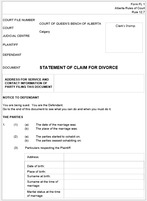 Statement of Claim for Divorce Form FL-01 for Alberta (divorce forms)
